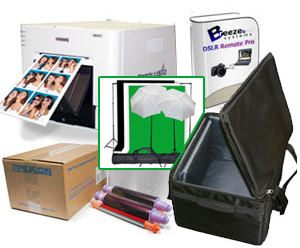 "DNP DSRX1 Photo Printer with Breeze DSLR Remote Pro 3.0 Photobooth-Greenscreen Software, 10x10'ft Green Screen Kit, Padded Carrying Case and 4x6"" Media Box Bundle DSRX1-Breeze-CaseGS-4x6"
