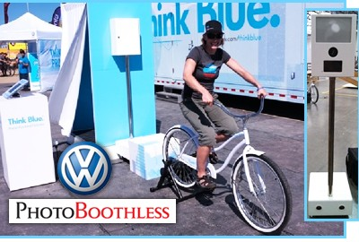 Photo booth powered by a bike