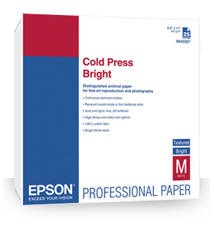 "Epson Cold Press Bright Textured Matte Paper  13"" x 19""in (25 Sheets ) S042310"