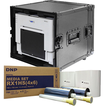 "DNP RX1HS Dye Sub Photo Printer with 4x6"" Printer Media (1400 prints) and Odyssey Black Printer Case Bundle DSRX1HS-4x6-ODDYBLK"