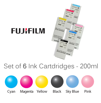 Set of SIX Fuji DX100 Ink Cartridges - 200ml each Ink FUJI-6INKSET
