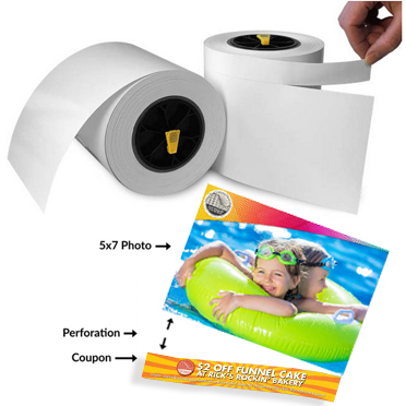 "Impressa IP60 5x7"" PERFORATED GLOSSY Photo Paper, 175 feet per roll x2 Rolls - 580 Prints 057357"
