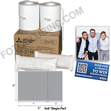 Mitsubishi CK-D746-FP42 4x6 Perforated Media (4x4 + 2x4) for D70/D90 series printers; 400 prints per roll, 2 rolls per box - 800 prints CK-D746-FP42