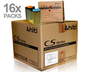 HiTi CS-2 YMCKO Card Printer Ribbon Case for CS-220e and CS-200e printers Ribbon only - Case of 16 packs - Total 6400 image prints 87.R0A09.19XV