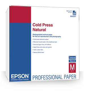 "Epson Cold Press Natural Paper 8.5"" x 11"" (25 sheets) S042297"