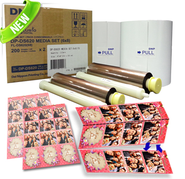 "DNP DS620A 6x8""in with 2"" Double Perforated Media - 2 Rolls (400 total prints) DS6206x8TS"