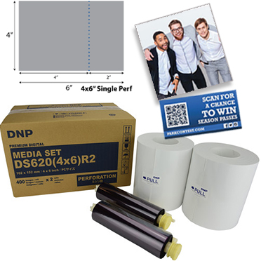 "DNP DS620A Perforated Printer Media 4x6"" - 2""in Single Perf (800 total prints) DS6204X6R2"
