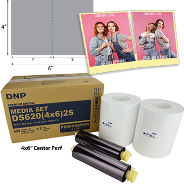 DNP DS620A Perforated Printer Media 4x6 Center Perf (800 total prints) DS6204x62S