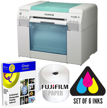 Fujifilm Frontier-S DX100 Printer with Set of Inks, One Fuji Paper Case - Choice of any size of FUJI Paper and Q-Image Photo Software Bundle DX100-INKS-1P-QMG