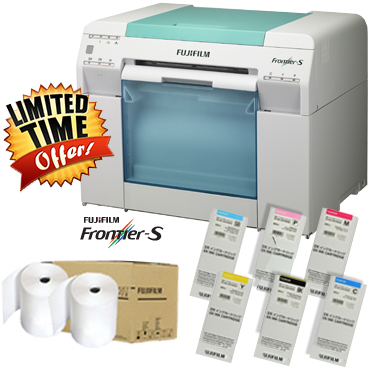 Fujifilm Frontier-S DX100 Printer with 6 ink set, Two Paper Rolls of Luster or Glossy Bundle DX100-INKS-2PAPER