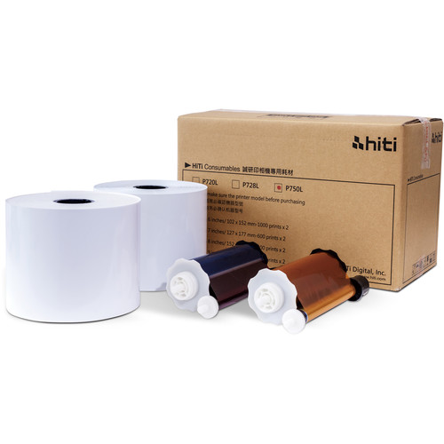 "HiTi P750L 4""x6"" Paper and Ribbon Case 2 Rolls - 2000 total prints 87.PBX25.10XT"