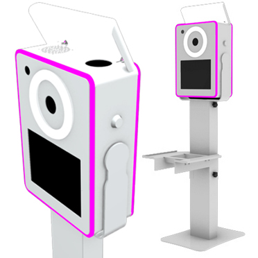 Lumia Photo Booth Shell with Shelf with Roller Case System - WHITE LumiaPB-WH