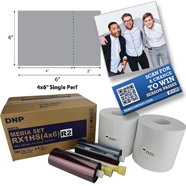 DNP DS-RX1HS Perforated Printer Media 4x6 2in Single Perf (1400 total prints) RX1HS4x6R2