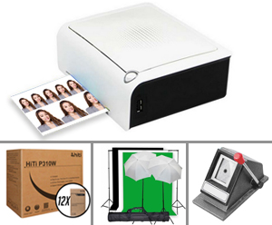 "HiTi P310W Passport & ID Photo Printer with 12 Case of 4x6"" media (720 total prints) a Passport Cutter and Backdrop Kit Bundle 88.P3736.00AT-Pass-BUND"